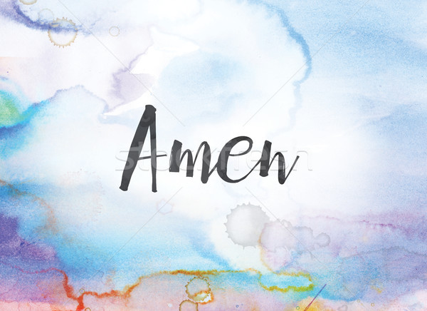 Amen Concept Watercolor and Ink Painting Stock photo © enterlinedesign