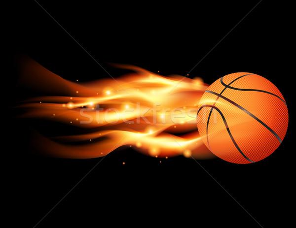 Flaming Basketball Stock photo © enterlinedesign