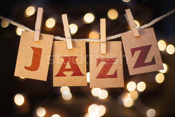Jazz tarjetas luces palabra impreso Foto stock © enterlinedesign