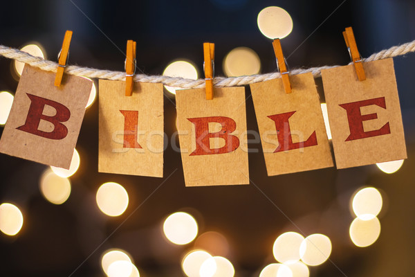 Bible Concept Clipped Cards and Lights Stock photo © enterlinedesign