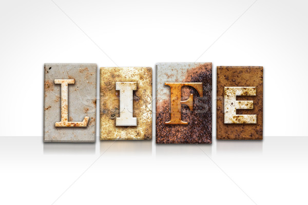 Life Letterpress Concept Isolated on White Stock photo © enterlinedesign