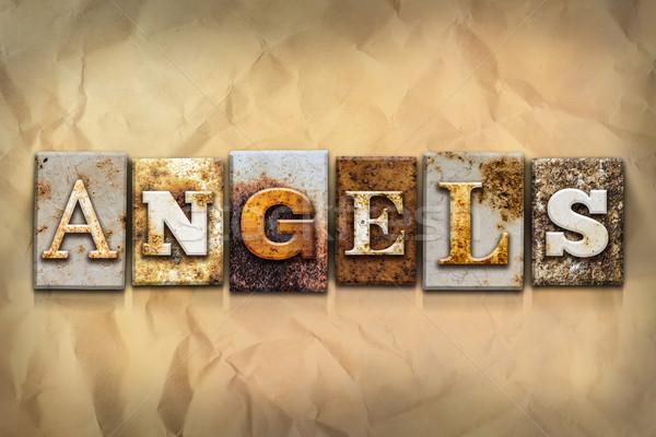 Foto stock: ángeles · oxidado · metal · tipo · palabra · escrito