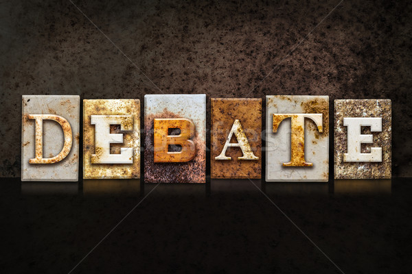 Debate Letterpress Concept on Dark Background Stock photo © enterlinedesign