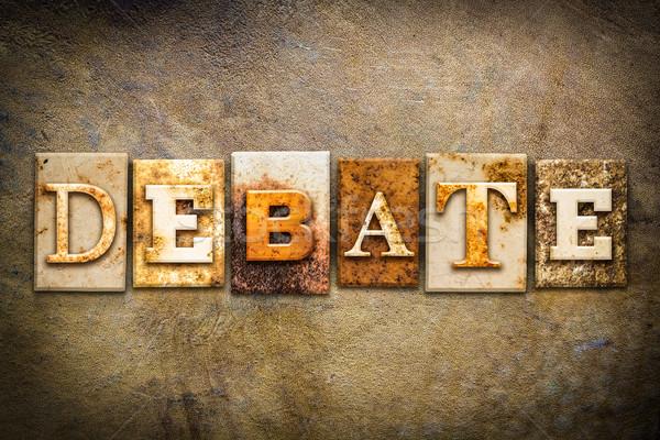 Debata skóry słowo napisany zardzewiałe Zdjęcia stock © enterlinedesign
