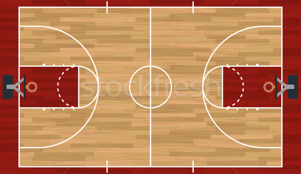 Stockfoto: Realistisch · basketbalveld · illustratie · hardhout · eps