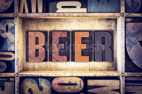 Beer Concept Letterpress Type Stock photo © enterlinedesign