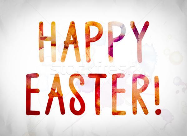Kellemes húsvétot vízfesték szó művészet írott fehér Stock fotó © enterlinedesign