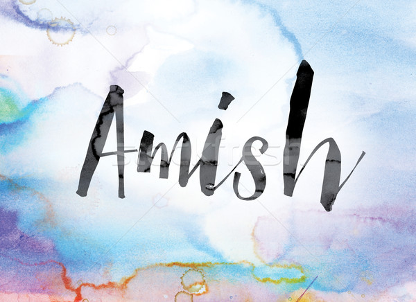 Amish Colorful Watercolor and Ink Word Art Stock photo © enterlinedesign