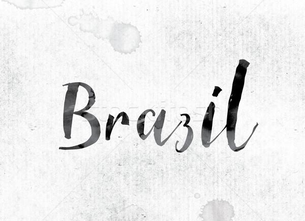 Brazília festett tinta szó vízfesték fehér Stock fotó © enterlinedesign