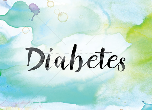Diabetes Colorful Watercolor and Ink Word Art Stock photo © enterlinedesign
