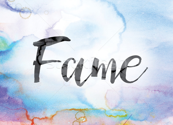 Fame Colorful Watercolor and Ink Word Art Stock photo © enterlinedesign