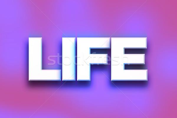 Leven kleurrijk woord kunst geschreven witte Stockfoto © enterlinedesign