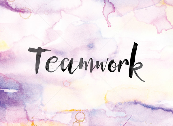 Teamwork Colorful Watercolor and Ink Word Art Stock photo © enterlinedesign