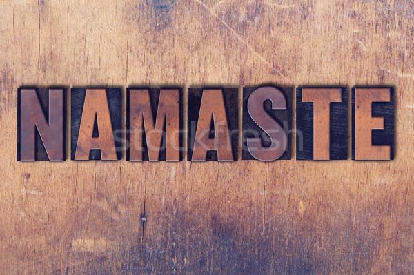 Namaste magasnyomás szó fa írott klasszikus Stock fotó © enterlinedesign