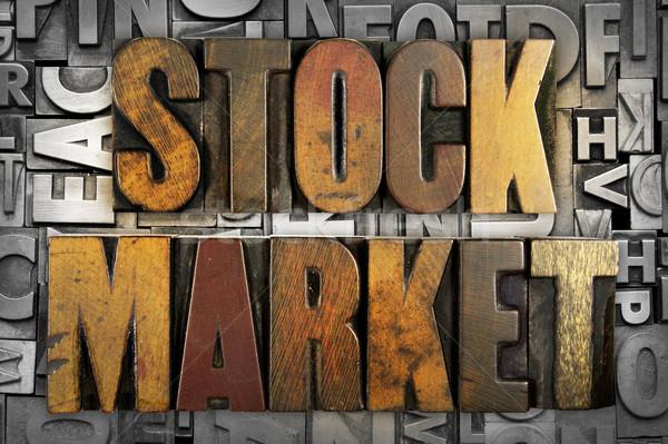 Borsa sözler yazılı bağbozumu tip Stok fotoğraf © enterlinedesign