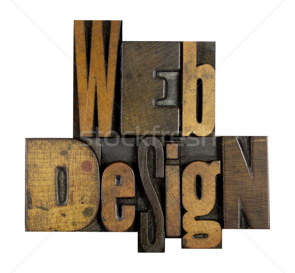 Web design woorden geschreven vintage type Stockfoto © enterlinedesign