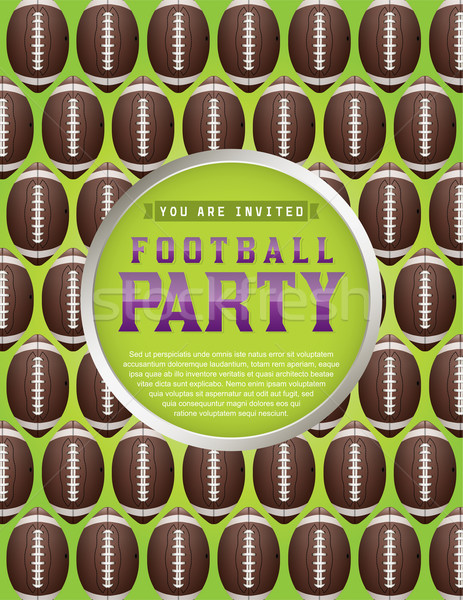 American Football Pattern Party Flyer Stock photo © enterlinedesign