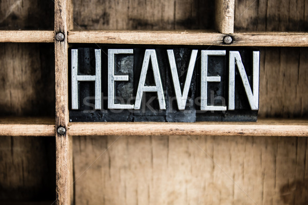 Heaven Concept Metal Letterpress Word in Drawer Stock photo © enterlinedesign