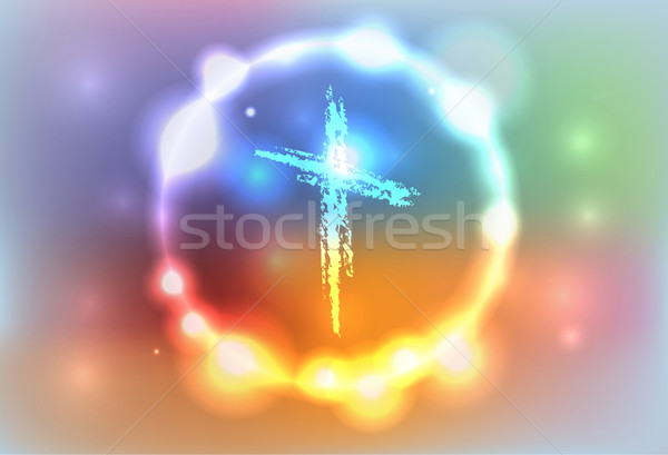 Glowing Hand Drawn Cross Illustration Stock photo © enterlinedesign