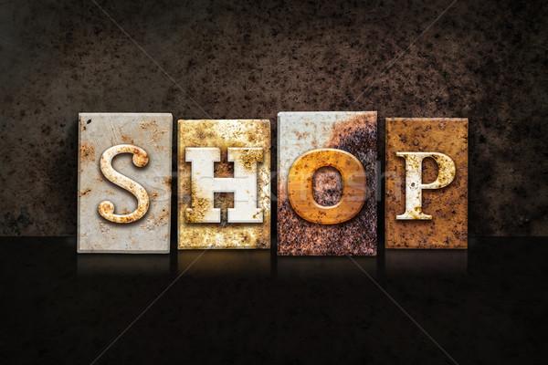 Сток-фото: магазин · темно · слово · написанный · ржавые