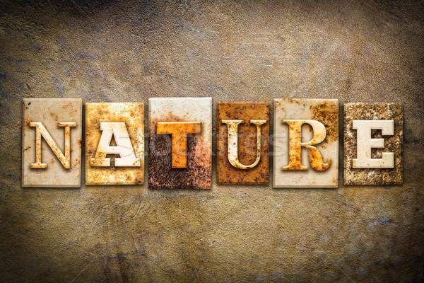 Stockfoto: Natuur · leder · woord · geschreven · roestige