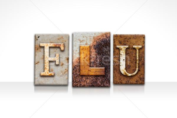 грипп изолированный белый слово написанный Сток-фото © enterlinedesign