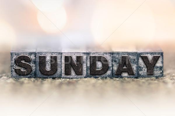 Sunday Concept Vintage Letterpress Type Stock photo © enterlinedesign