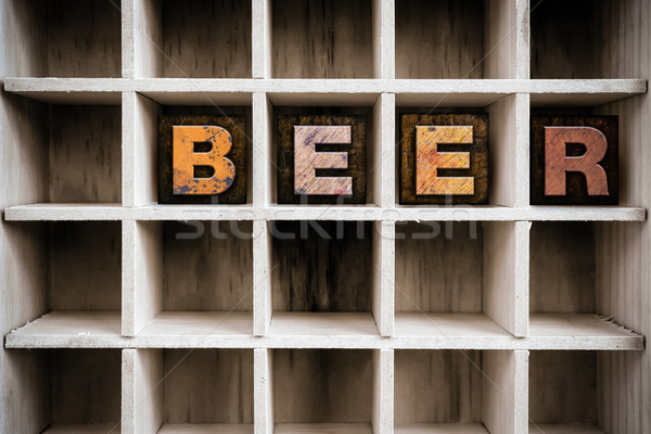 Beer Concept Wooden Letterpress Type in Draw Stock photo © enterlinedesign