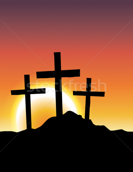 Calvary Crosses at Sunrise Illustration Stock photo © enterlinedesign