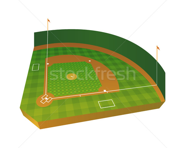Realistic Baseball Field Illustration Stock photo © enterlinedesign