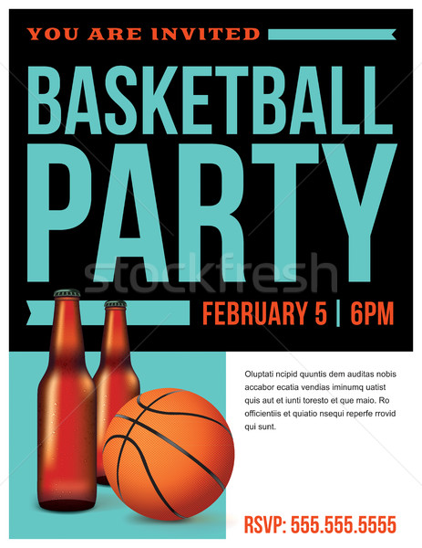 Basketball Party Flyer Template Illustration Stock photo © enterlinedesign