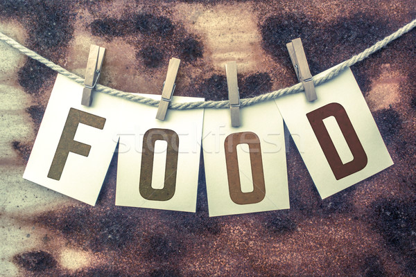 Food Concept Pinned Stamped Cards on Twine Theme Stock photo © enterlinedesign