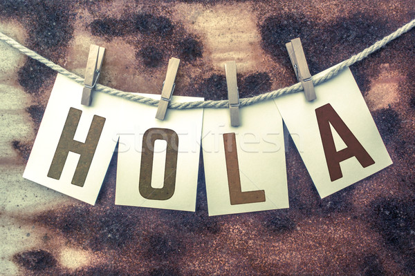 Hola Concept Pinned Stamped Cards on Twine Theme Stock photo © enterlinedesign
