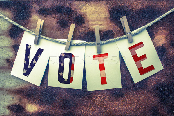 Vote Concept Pinned Cards and Rust Stock photo © enterlinedesign