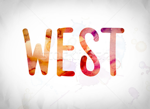 West Concept Watercolor Word Art Stock photo © enterlinedesign