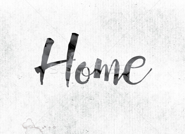 Casa pintado nosso palavra aquarela branco Foto stock © enterlinedesign