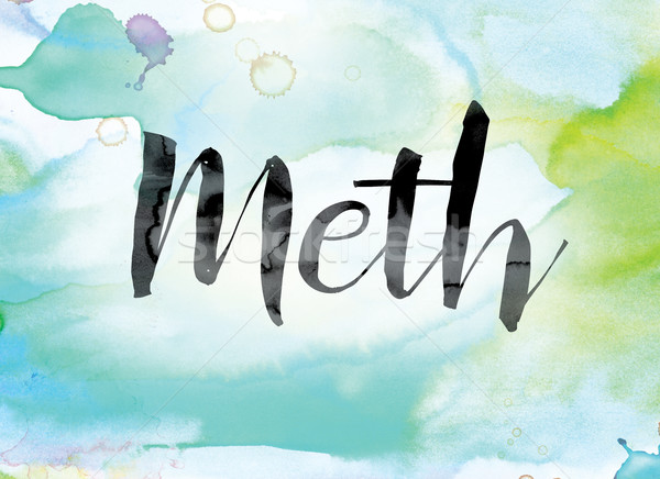 Meth Colorful Watercolor and Ink Word Art Stock photo © enterlinedesign