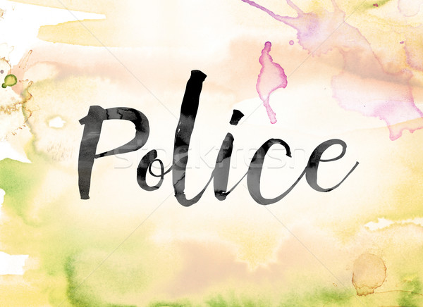 Stock photo: Police Colorful Watercolor and Ink Word Art