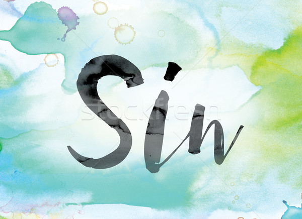 Sin Colorful Watercolor and Ink Word Art Stock photo © enterlinedesign