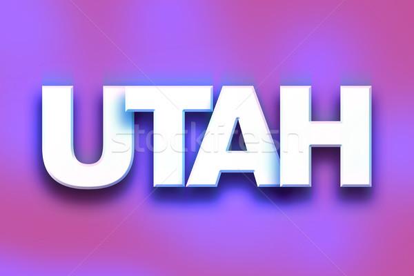 Utah kolorowy słowo sztuki napisany biały Zdjęcia stock © enterlinedesign