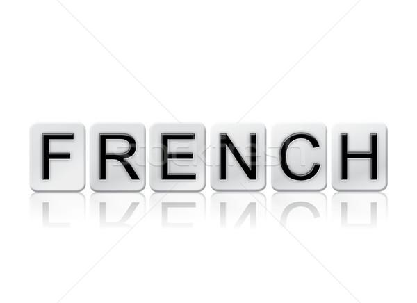 Stockfoto: Frans · betegelde · woord · geïsoleerd · witte · geschreven