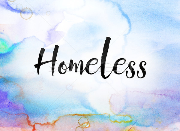 Homeless Concept Watercolor and Ink Painting Stock photo © enterlinedesign