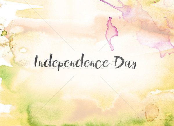 Independence Day Concept Watercolor and Ink Painting Stock photo © enterlinedesign