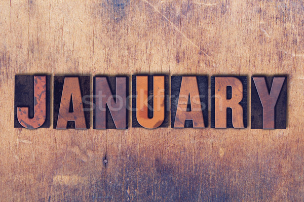 January Theme Letterpress Word on Wood Background Stock photo © enterlinedesign