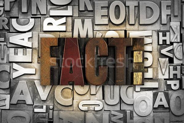 Tény szó írott klasszikus magasnyomás Stock fotó © enterlinedesign