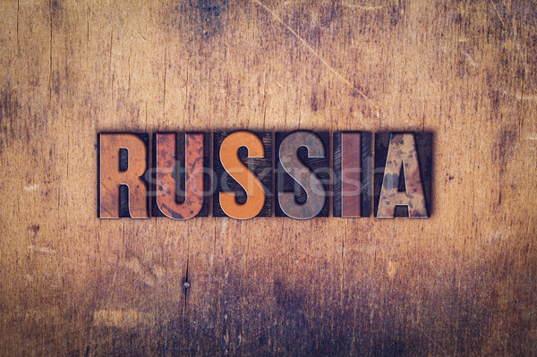 Russia Concept Wooden Letterpress Type Stock photo © enterlinedesign