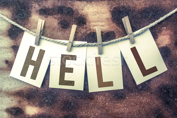 Hell Concept Pinned Stamped Cards on Twine Theme Stock photo © enterlinedesign