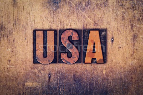 Stock photo: USA Concept Wooden Letterpress Type