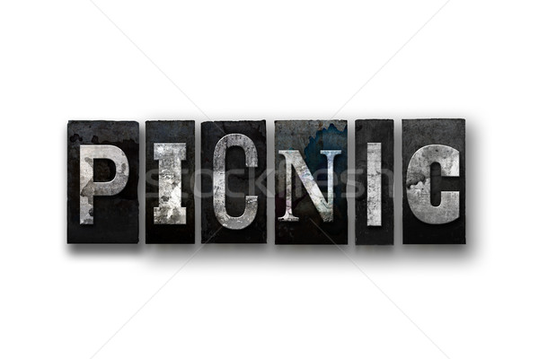 Picnic Concept Isolated Letterpress Type Stock photo © enterlinedesign