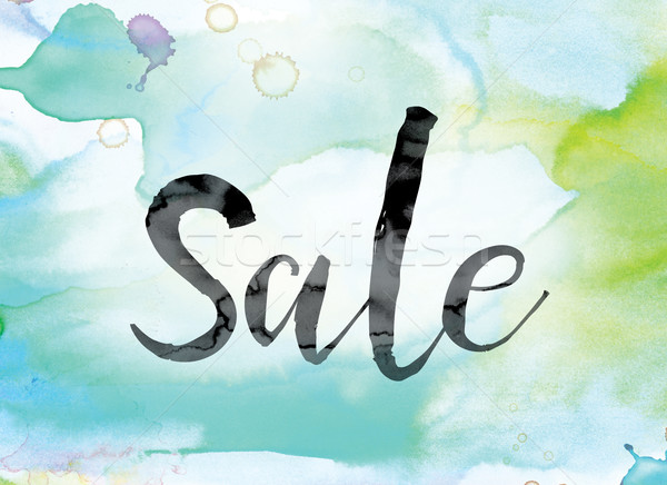 Sale Colorful Watercolor and Ink Word Art Stock photo © enterlinedesign
